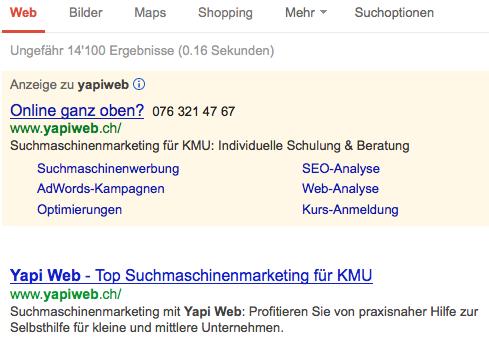 Yapi Web auf Google